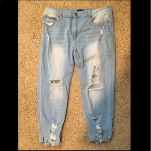 Cover Girl distressed straight leg/skinny jeans